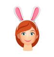 woman wearing bunny years vector image
