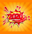 2020 new year boom card in retro pop art style vector image vector image