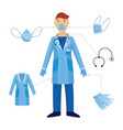 a man and a doctor and his medical safety vector image