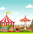 Amusement park with many rides vector image vector image