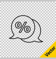 Black line discount percent tag icon isolated on