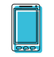 blue watercolor silhouette of smartphone icon vector image vector image