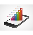 Business infographic on the screen mobile phone vector image