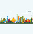 cairo egypt skyline with color buildings and blue vector image vector image