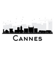 Cannes City skyline black and white silhouette vector image vector image