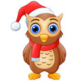 cartoon owl wearing santa hat vector image