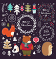 christmas collection with symbols vector image