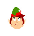 christmas elf surprised emoji santa helper vector image vector image