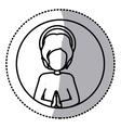 circular sticker silhouette half body baby jesus vector image vector image