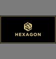 cu hexagon logo vector image