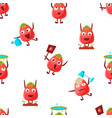 cute tomato character seamless pattern funny vector image