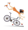 cyclist woman falling down from bicycle vector image vector image