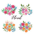 flowers and leafs set decorative icons vector image vector image