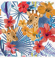 giraffe head hibiscus flowers seamless vector image