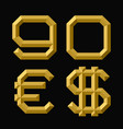 gold faceted nine zero numbers euro and dollar vector image vector image