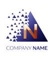 golden letter n logo symbol in blue pixel triangle vector image vector image