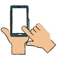 hands human with smartphone device vector image