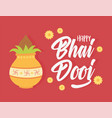 happy bhai dooj indian family celebration culture vector image vector image