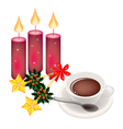 Hot Coffee with Golden Stars and Christmas Holly vector image