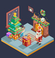 isometric room cristmas new year santa claus icons vector image