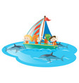 kids on boat watching sharks swimming vector image vector image