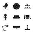 Office furniture and interior set icons in black vector image vector image