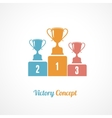 Pedestal With Trophy Cups Business concept vector image vector image
