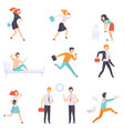 people running to work businesspeople characters vector image vector image