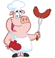 Pig chef cartoon character with sausage on fork vector | Price: 1 Credit (USD $1)