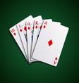 Poker cards flush diamonds hand vector image vector image
