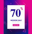 sale promo banner weekend offer big discount 70 vector image