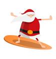 santa claus surfing icon cartoon style vector image