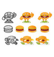 set cartoon burgers vector image vector image