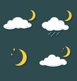 set of clouds with rain moon stars at night icon vector image