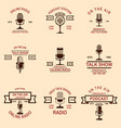 set of podcast radio emblems with microphone vector image vector image
