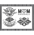 Set of vintage baseball labels and badges