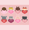 set stickers for valentine s day with animals vector image