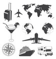 set travel icons silhouette travel elements vector image