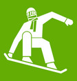 snowboarder icon green vector image vector image
