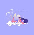 sound engineering woman character music concept vector image