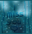 the inscription on the wet glass transparent vector image vector image