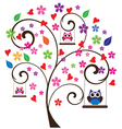 tree floral owl vector image vector image