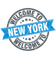 welcome to New York blue round vintage stamp vector image vector image