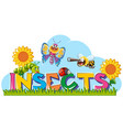 word for insects with many insects in garden vector image vector image