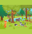 animals in forest background wild cute happy vector image vector image
