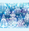 background with winter trees vector image