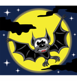 Bat in front of yellow moon and night sky vector image vector image