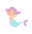 beautiful little mermaid with violet hair cute vector image vector image