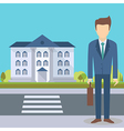Businessman at the office building vector image