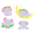 collection cute grey elephants children vector image vector image